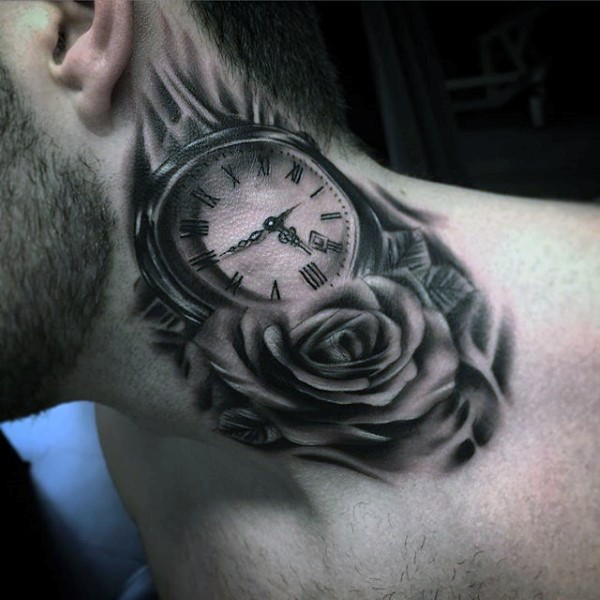 Beautiful painted black ink pocket clock with flower tattoo on neck