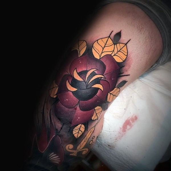 Beautiful painted colored arm tattoo of flower