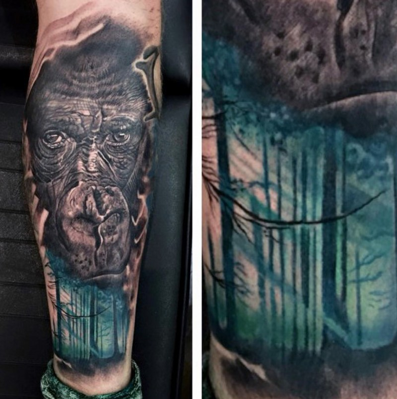 Beautiful painted mystical old sunny forest tattoo on wrist