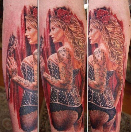 Beautiful pin up singer girl tattoo