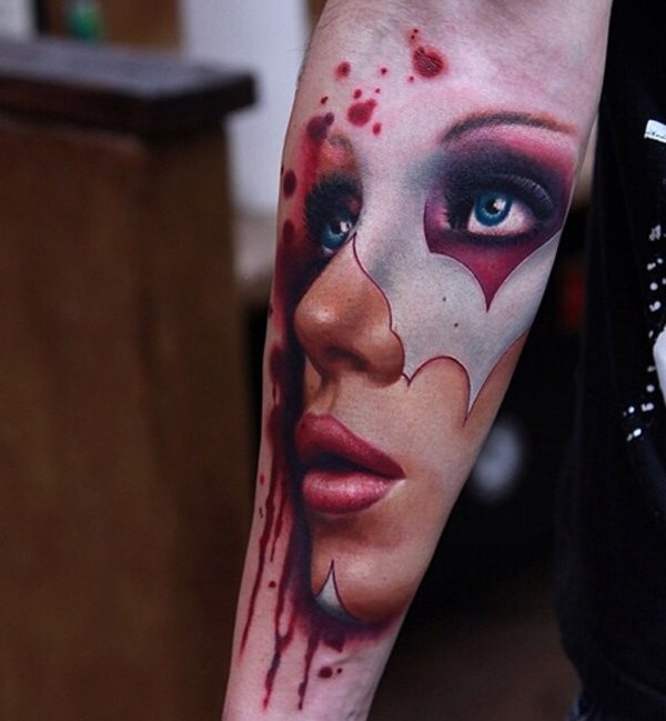 Beautiful portrait of a women forearm tattoo