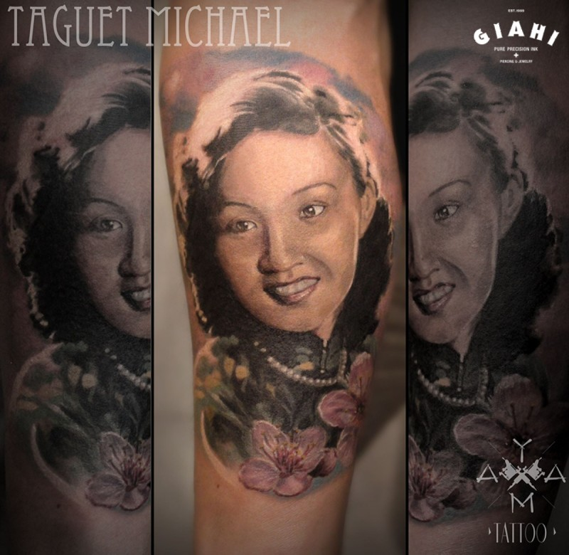 Beautiful portrait style colored tattoo of woman face with flowers