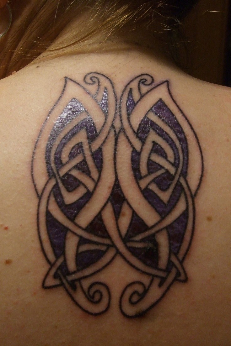 Beautiful purple celtic butterflies tattoos for lady