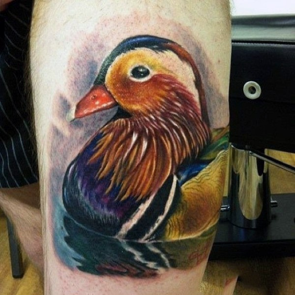 Beautiful realism style colored tattoo of small bird