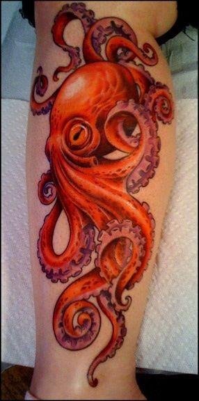 bellissimo realistico rosso polipo tatuaggio sulla gamba