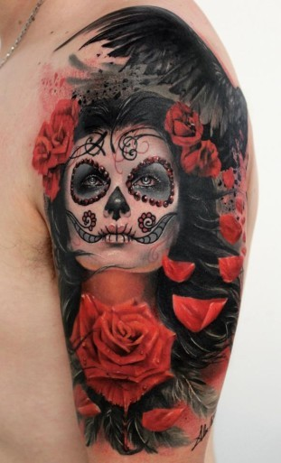 Beautiful santa muerte girl with red roses and black raven