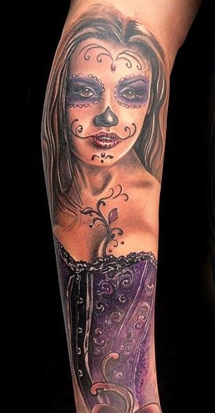Beautiful santa muerte in a purple corset tattoo