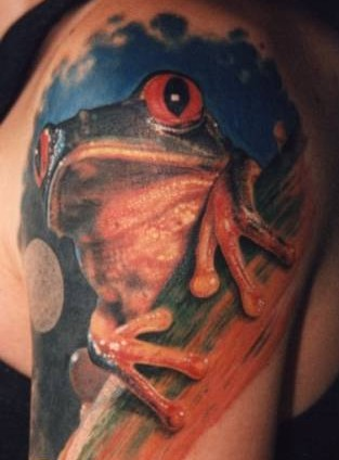 Beautiful tree frog tattoo on half sleeve