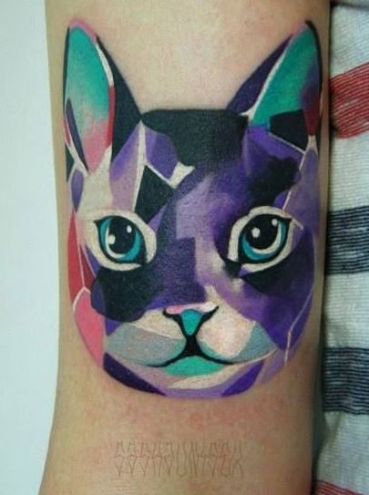 Beautiful watercolor cat tattoo on arm