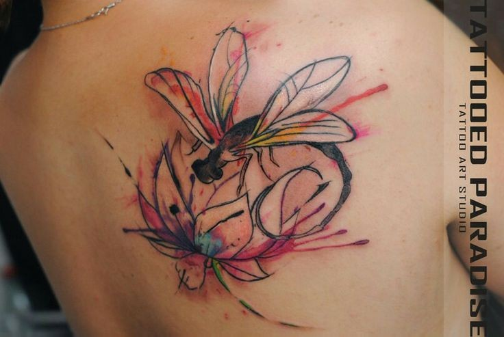 Beautiful watercolor dragonfly tattoo