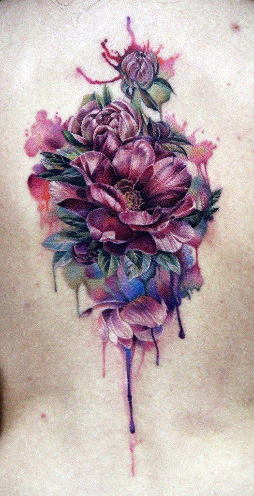 Beautiful watercolor flowers tattoo on back