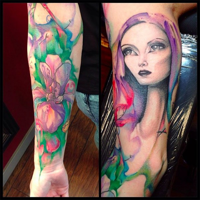 Beautiful watercolor like big flower and woman portrait tattoo on sleeve