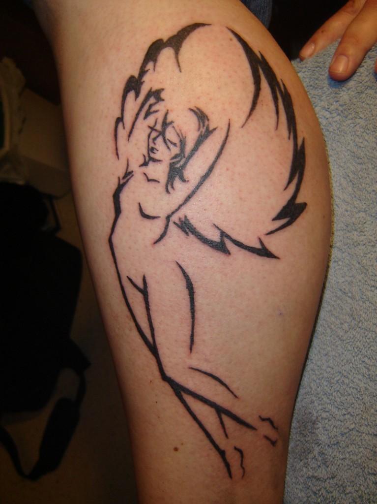 Beauty tribal angel tattoo