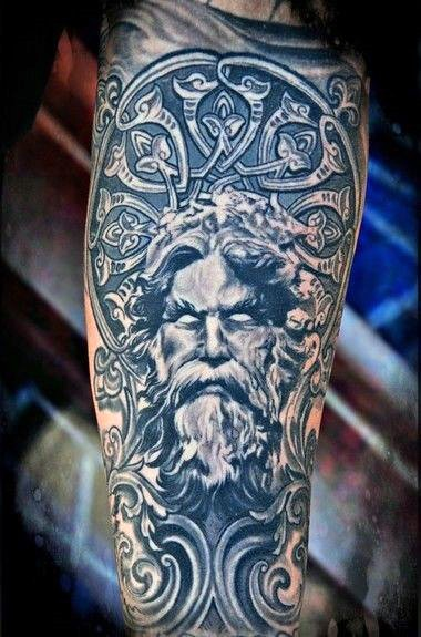 Big 3D like black and white antic statue tattoo on arm