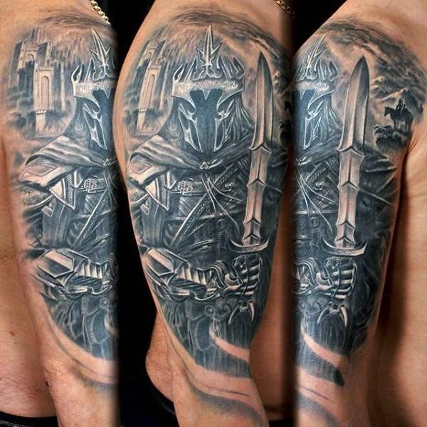 Big 3D like black and white dark fantasy warrior tattoo on shoulder with castle