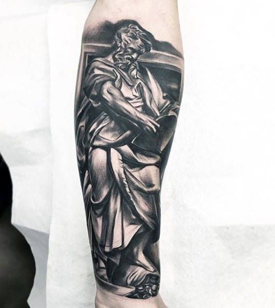 Big 3D like colored forearm tattoo of antic statue