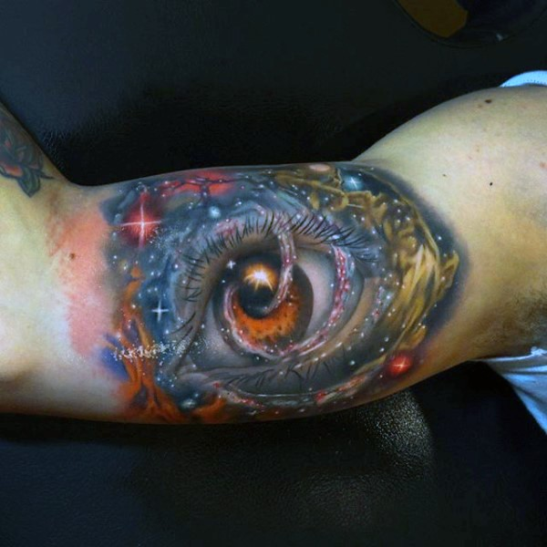 Big 3D like colorful eye in space tattoo on arm