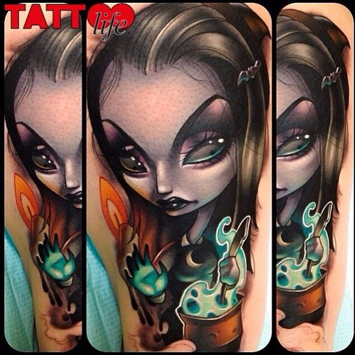 Big 3D style colored detailed arm tattoo on mystical witch