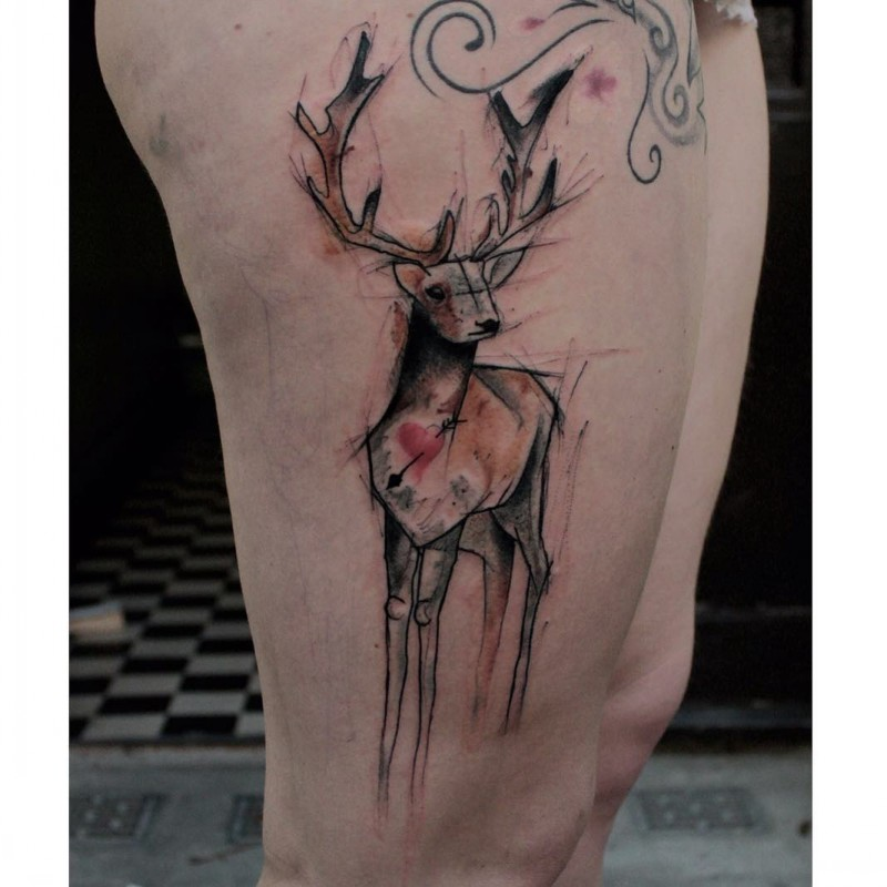 Big abstract style colored deer tattoo on thigh stylized with little red heart