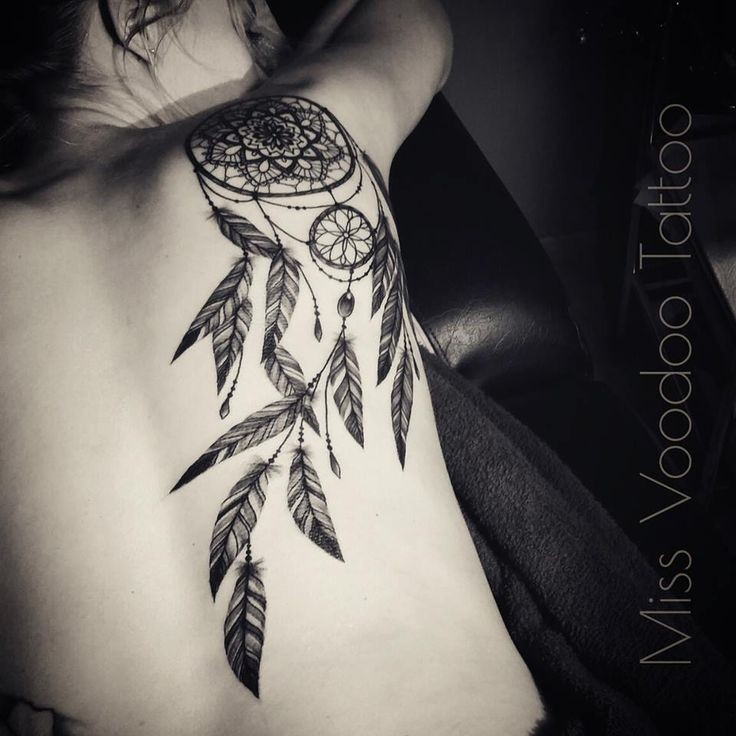 Big accurate painted scapular tattoo of dream catcher with feather