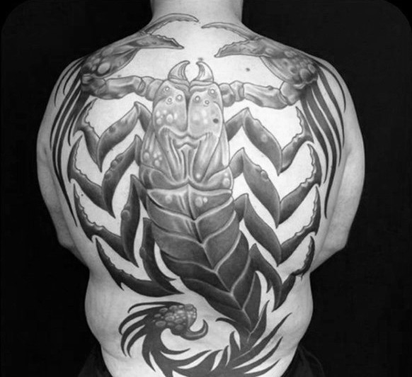 Big alien like detailed scorpion tattoo on whole back
