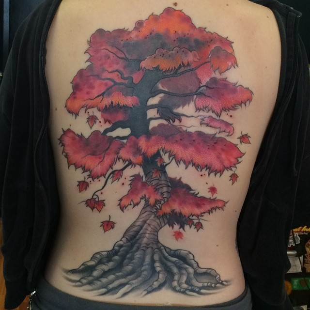 Big Asian like colored whole back tattoo of beautiful tree