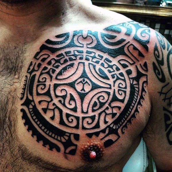 Big Aztec style mystical ornaments tattoo on chest
