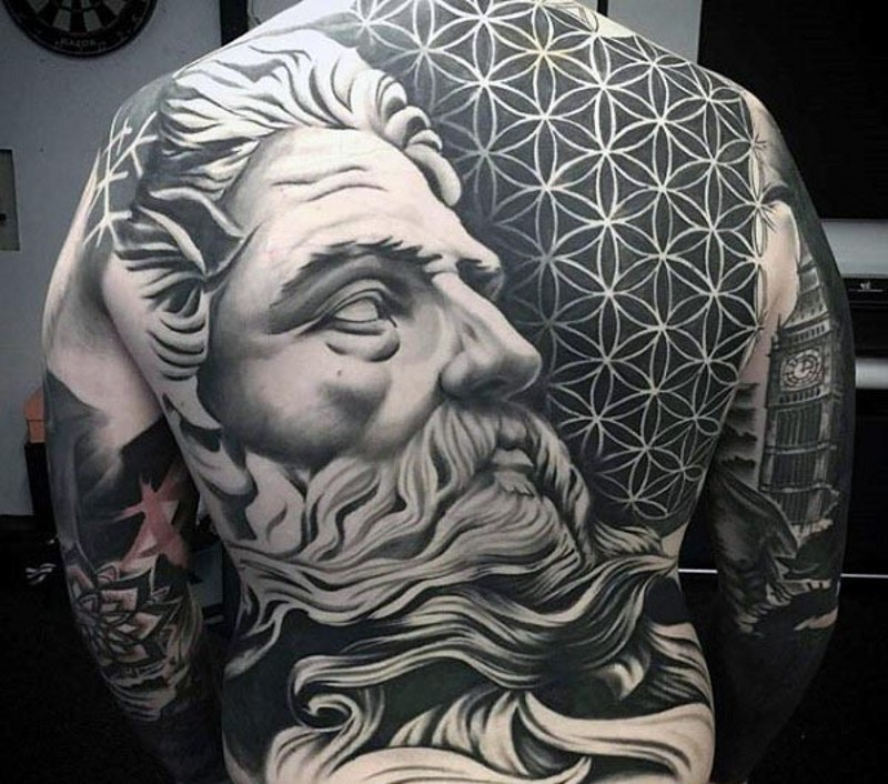 Big black and white antic statue tattoo on back with ornaments