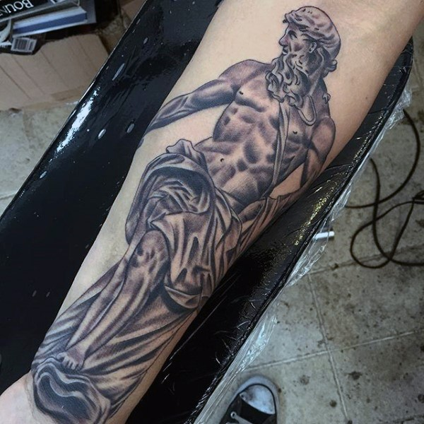 Big black and white antic statue tattoo on arm