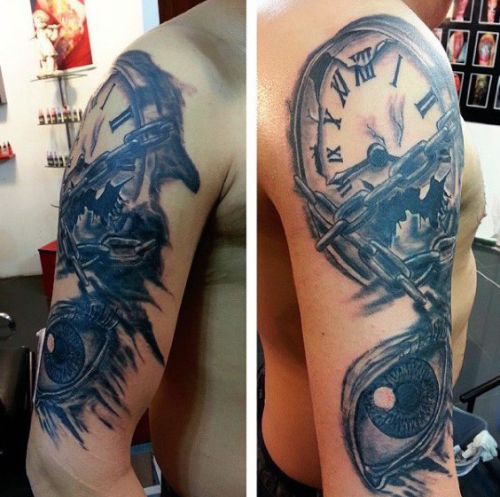 Big black and white broken chained clock shoulder tattoo with eye