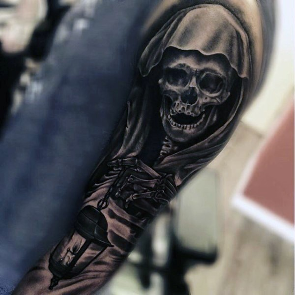 Big black and white detailed skeleton with street light tattoo on sleeve
