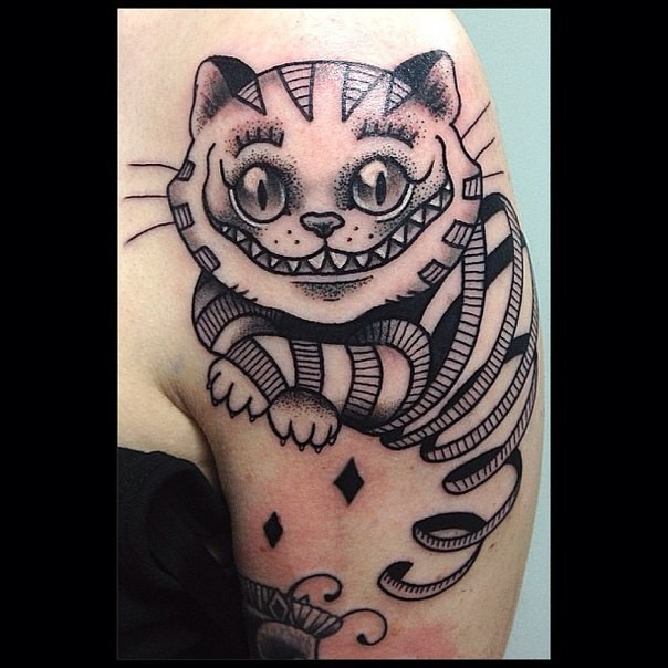 Big black and white funny Alice in wonderland cat tattoo on shoulder