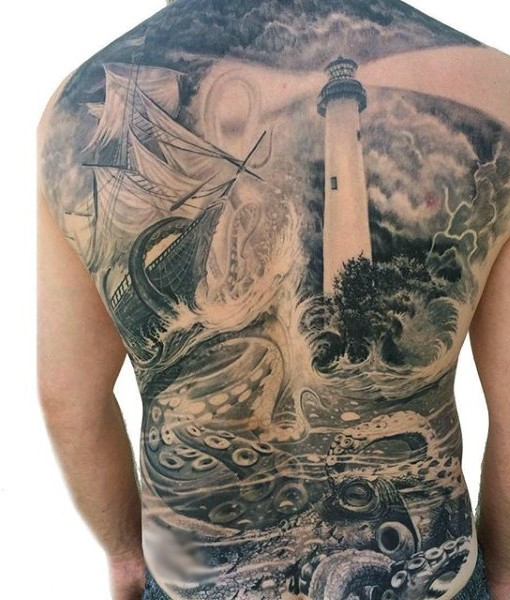 Big black and white lighthouse with octopus and ship tattoo on whole back