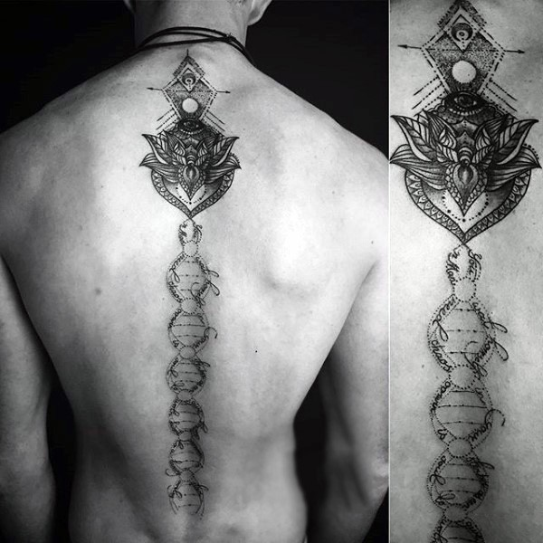Big black and white mystical DNA tattoo on whole neck