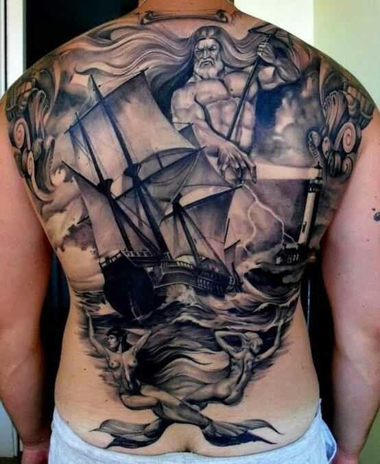 Big black and white nautical tattoo on whole back