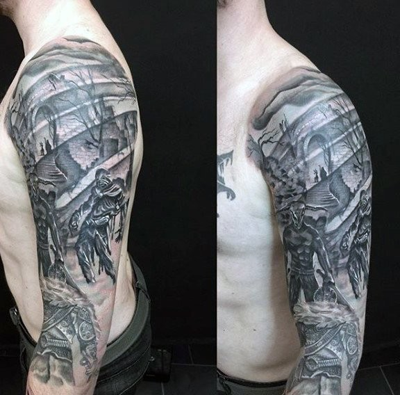 Big black and white sleeve tattoo of terrifying ruins with monsters