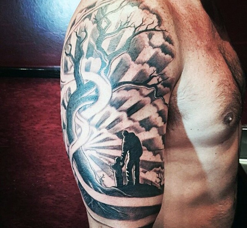 Big black and white sunset with father and son half sleeve tattoo