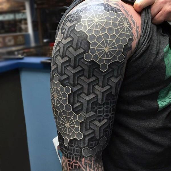 Big black and white tribal geometrical sleeve like tattoo