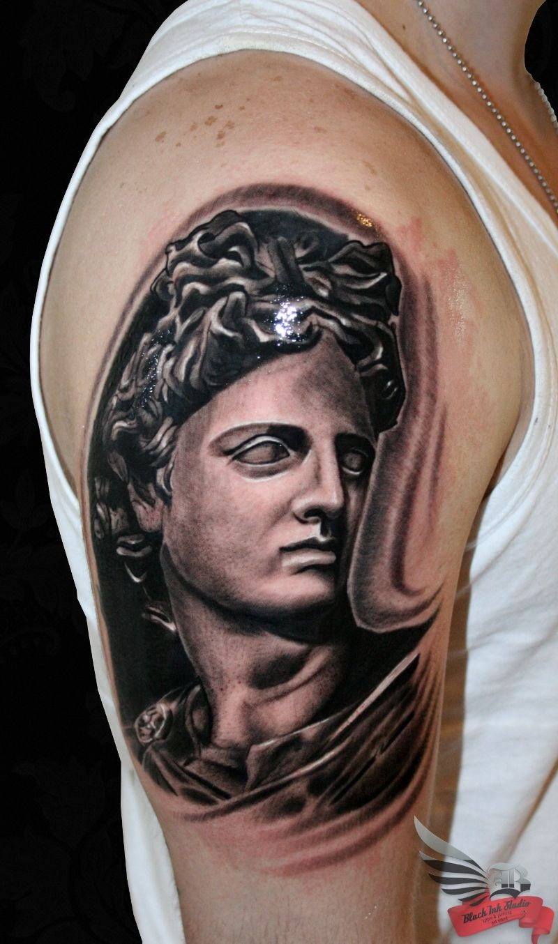 Big black ink antic style detailed shoulder tattoo of statue