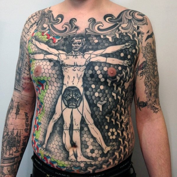 Big black ink chest and belly tattoo of Vitruvian man picture combined with geometrical figures