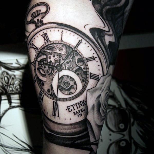 Big black ink mechanical pocket clock tattoo on leg
