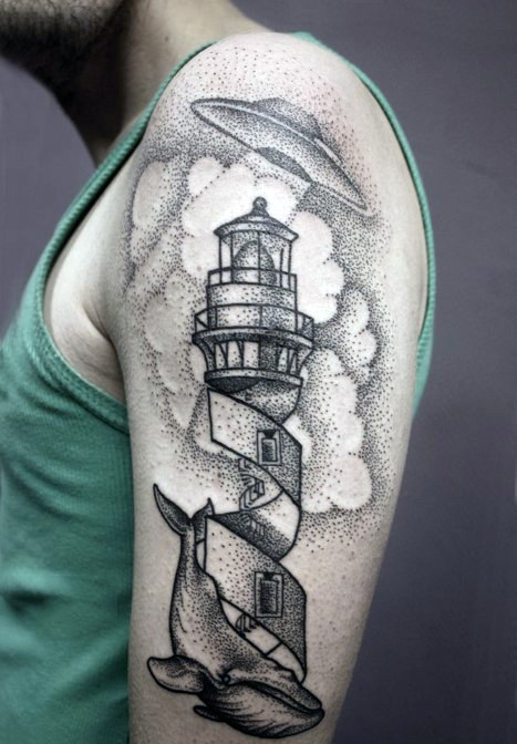 Big black ink original painted lighthouse with alien ship and wale