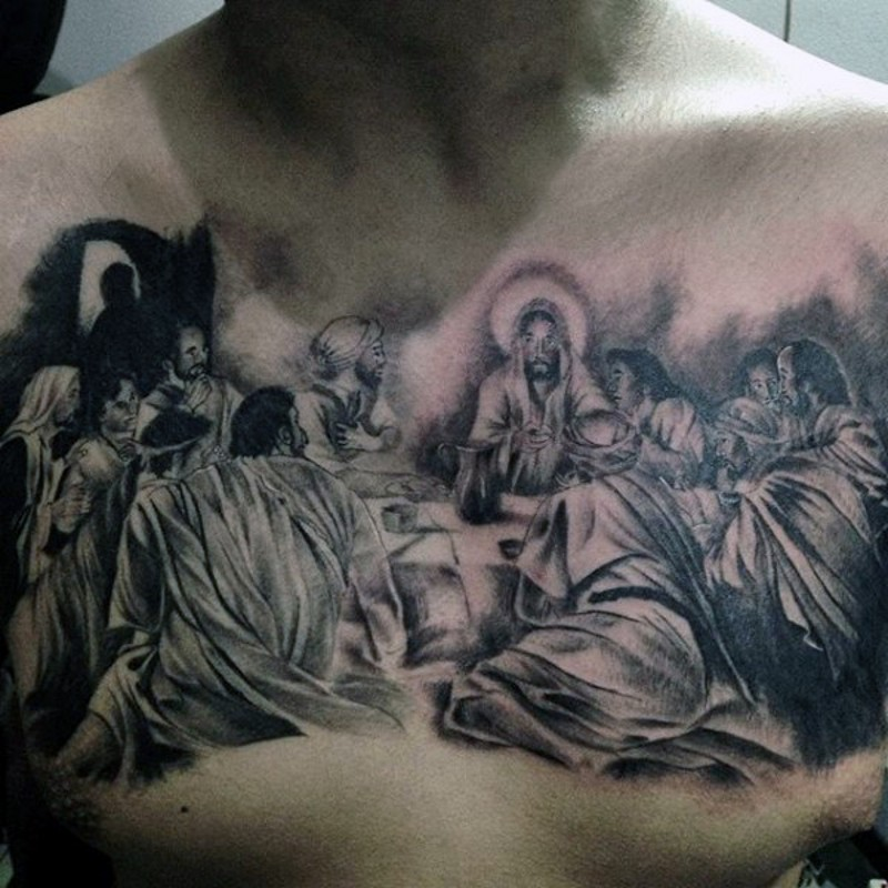 Big black ink religious themed painting tattoo on chest