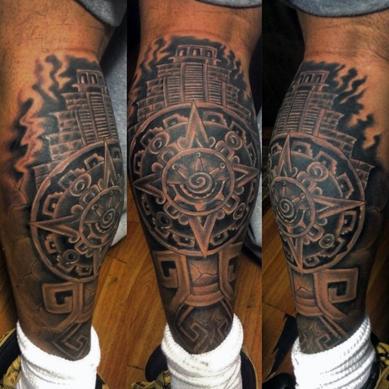 Big black ink tribal temple tattoo on leg combined with star shaped tablet