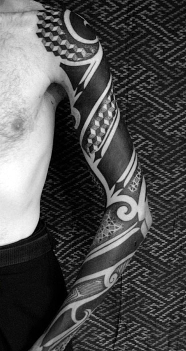 Big black style sleeve tattoo of various geometrical ornaments