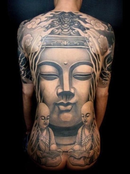 Big buddha tattoo on whole back