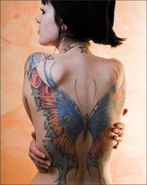 Big butterfly tattoo on back