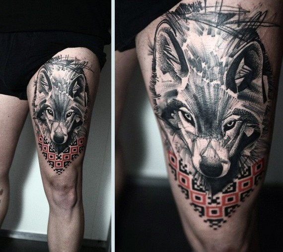 Big colored abstract wolf tattoo on thigh combined with colored ornaments