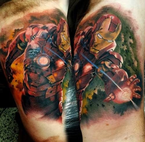 Big colored arm tattoo of detailed Iron man