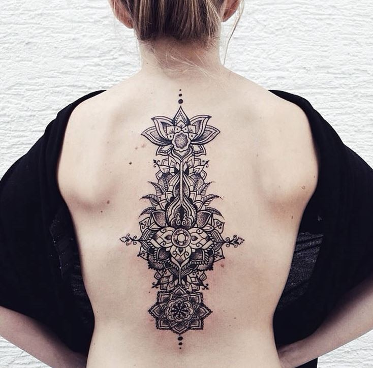 Big colored beautiful looking ancient flowers tattoo on back
